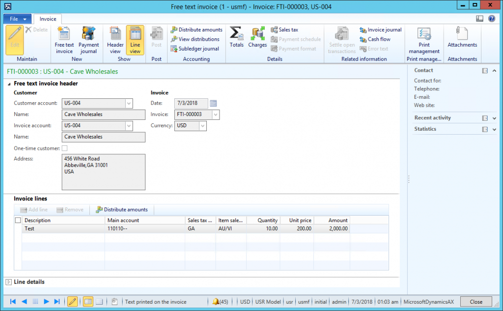 Screenshot Freetext invoice