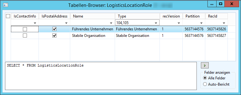 Tablebrowser LogisticsLocationRole