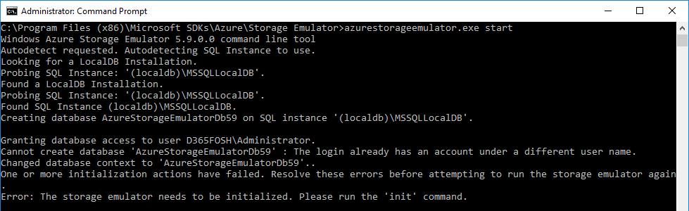 Azure strarge emulator start fails